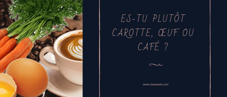 Es-tu carotte oeuf ou café ? Tianaweb